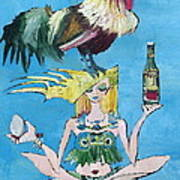 Yoga Girl With Cock - Bottle Of Wine And Egg Poster