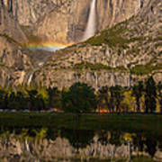 Yosemite Falls Moonbow Reflection Poster