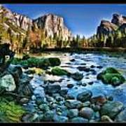 Yosemite Rocks In River Poster