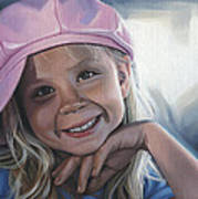 Young Girl In Pink Hat Poster