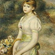 Young Girl With A Basket Of Flowers Poster