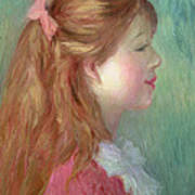 Young Girl With Long Hair In Profile Poster