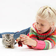 Young Girl With Silver Tabby Kitten Poster
