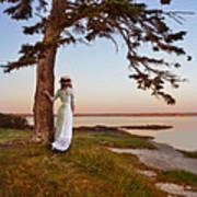 Young Lady In Edwardian Clothing By The Sea Poster