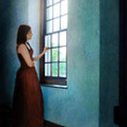 Young Lady Looking Out Window Poster