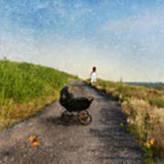 Young Woman And Baby Buggy On Dirt Road  Poster