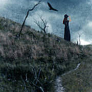 Young Woman On Creepy Path With Black Birds Overhead Poster