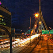 Zakim Bridge At Night Poster by Joann Vitali
