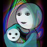 044 - Full Moon  Mother And Child   Poster