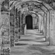 Archway At Moravian Pottery And Tile Works In Black And White Poster