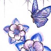 Butterfly Amongst The Flowers Poster