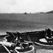 Cannons In Fort Aimed Harbor Circa 1865 Black Poster