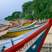 Colorful  Fishing Boats On Crashboat Beach Poster