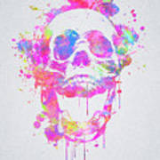 Cool And Trendy Pink Watercolor Skull Poster