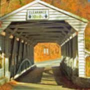 Covered Bridge Watercolor  Poster