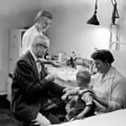 Doctor Giving Toddler Shot 1958 Black White Baby Poster