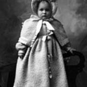 Girl Posing In Winter Coat 1903 Black White Poster
