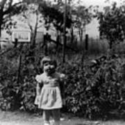 Girl Tomato Patch 1950s Black White Archive Kids Poster