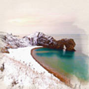 Illustration Of  The Durdle Door In Snow Poster