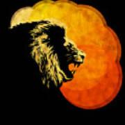 Lion Illustration Print Silhouette Print Night Predator Poster