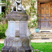 Little Angel With A Dog In The Montresor Garden In The Loire Valley Fr Poster