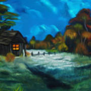Little Pig's Barn In The Moonlight Dreamy Mirage Poster