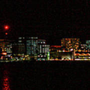 Madison Wi Skyline At Night Poster