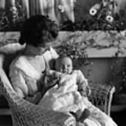 Mother Holding Baby 1910s Black White Archive Poster