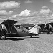 Navy Biplanes 19411945 Black White 1940s Airport Poster