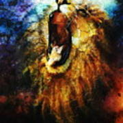 Painting Of A Mighty Roaring Lion Emerging From An Abstract Desert Pattern Pc Collage Poster