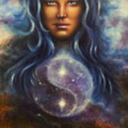 Painting On Canvas Of A Space Woman Goddess Lada As A Mighty Loving Guardian With Symbol  Jin Jang Poster