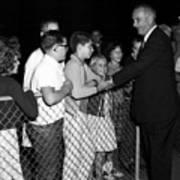 President Lyndon Johnson Shaking Childrens Hands Poster