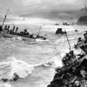 Shipwreck In Rough Seas 1940s Black White Poster