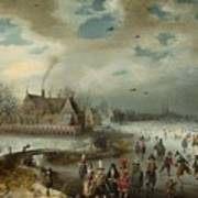 Skating On The Frozen Amstel River  Poster