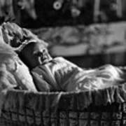Smiling Baby In Bassinet 1910s Black White Boy Poster