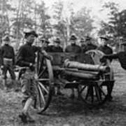 Soldiers Cannon 1898 Black White 1890s Archive Poster