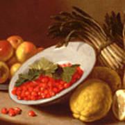 Still Life Of Raspberries Lemons And Asparagus  Poster