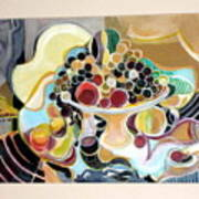 Still Life With Fish And Fresh  Fruits Poster by Therese AbouNader