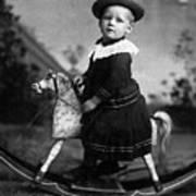 Toddler Rocking Horse 1890s Black White Archive Poster