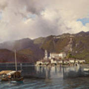 View Of Isola San Giulio In Lake Orta Poster