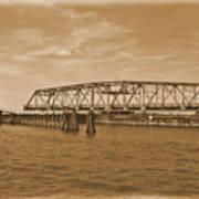 Vintage Swing Bridge In Sepia 4 Poster