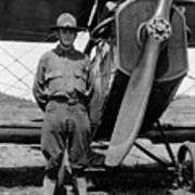 W Soldier Standing Biplane July 1923 Black White Poster