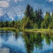 Wyoming Tetons Spruce Mountain Lake. Oil Painting . Poster