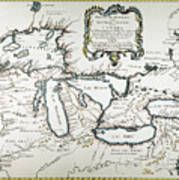 Great Lakes Map, 1755 Poster
