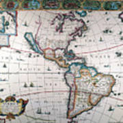 New World Map, 1616 Poster