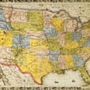 United States Map, 1866 Poster