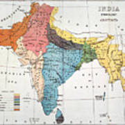 India: Map, 19th Century Poster