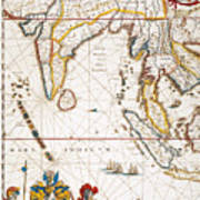 South Asia Map, 1662 Poster