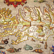 Iceland: Map, 1595 Poster