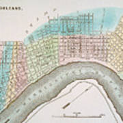 New Orleans Map, 1837 Poster